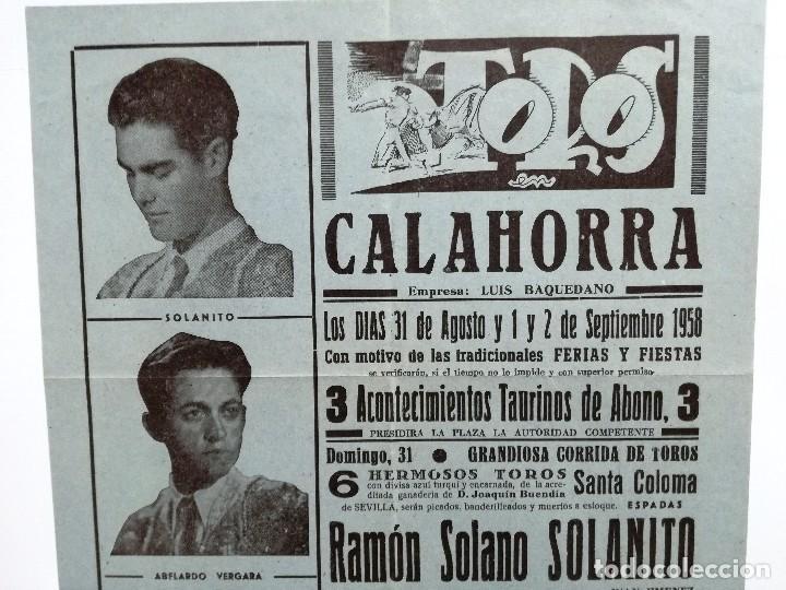 Tauromaquia: CARTEL DE TOROS CALAHORRA AGOSTO 1958.SOLANITO,AVELARDO VERGARA,EL TRIANERO,MIGUELIN,DIEGO PUERTA, - Foto 2 - 103321883