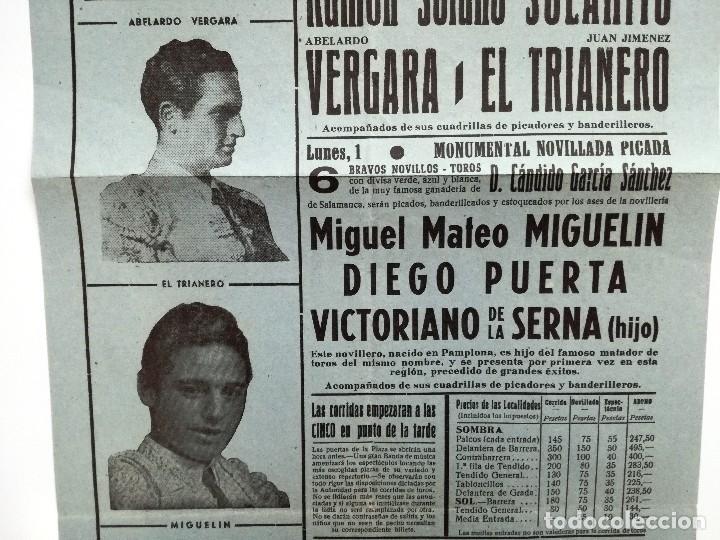 Tauromaquia: CARTEL DE TOROS CALAHORRA AGOSTO 1958.SOLANITO,AVELARDO VERGARA,EL TRIANERO,MIGUELIN,DIEGO PUERTA, - Foto 3 - 103321883