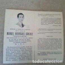 Tauromaquia: ESQUELA MANOLETE MUERTE.. Lote 104005727