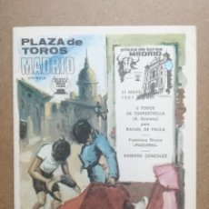 Tauromaquia: PROGRAMA OFICIAL PLAZA TOROS MADRID 1981.RAFAEL DE PAULA,PAQUIRRI Y DAMASO GONZALEZ. Lote 104069203
