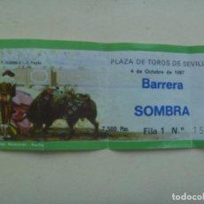 Tauromaquia: ENTRADA PLAZA DE TOROS DE SEVILLA , BARRERA SOMBRA . 1987. Lote 104549999