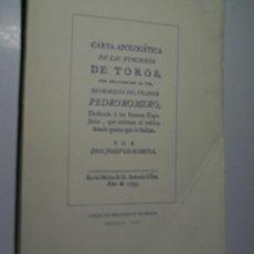 Tauromaquia: CARTA APOLOGÉTICA DE LAS FUNCIONES DE TOROS, CON UNA CANCIÓN AL FIN EN OBSEQUIO DEL CELEBRE PEDRO RO. Lote 108317947