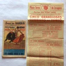 Tauromaquia: PROGRAMA Y CARTEL TOROS ZARAGOZA PILAR 1950.MIGUEL Y PEPE DOMINGUIN,GONZÁLEZ Y DOS SANTOS,MUÑOZ.. Lote 108769791