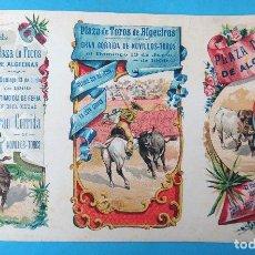 Tauromaquia: CARTEL PROGRAMA TOROS , FERIA DE ALGECIRAS CADIZ , 1909 , LITOGRAFIA ANTIGUA, ORIGINAL , H3. Lote 110132351