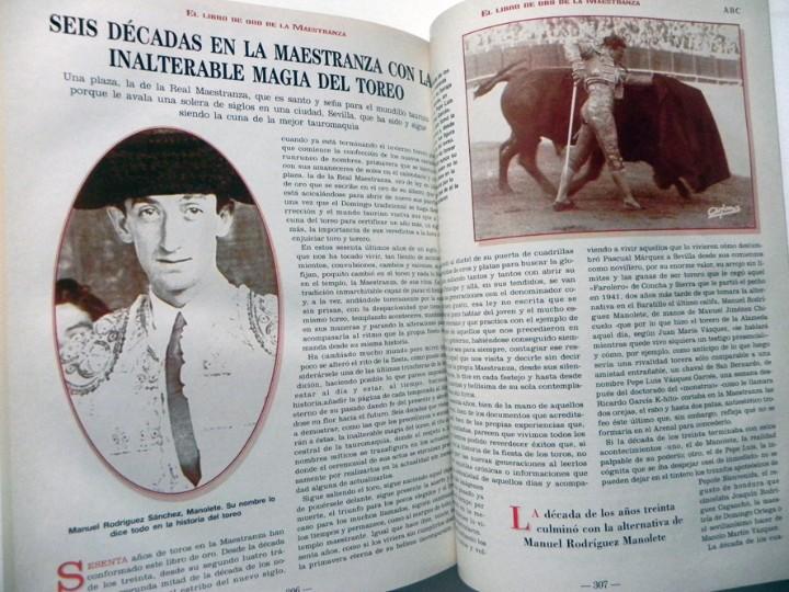 Tauromaquia: EL LIBRO DE ORO LA MAESTRANZA - TAUROMAQUIA SEVILLA PLAZA TOROS TOREROS -MUCHAS FOTOS HISTORIA TOREO - Foto 2 - 111688019