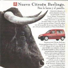 Tauromaquia: PUBLICIDAD CITROEN BERLINGO PARA LA FAENA Y EL PASEILLO. Lote 112070467