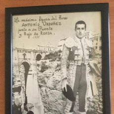 Tauromaquia: FOTOMONTAJE DE ESTUDIO. ANTONIO ORDÓÑEZ AL FONDO EL TAJO DE RONDA 1951. Lote 112311547