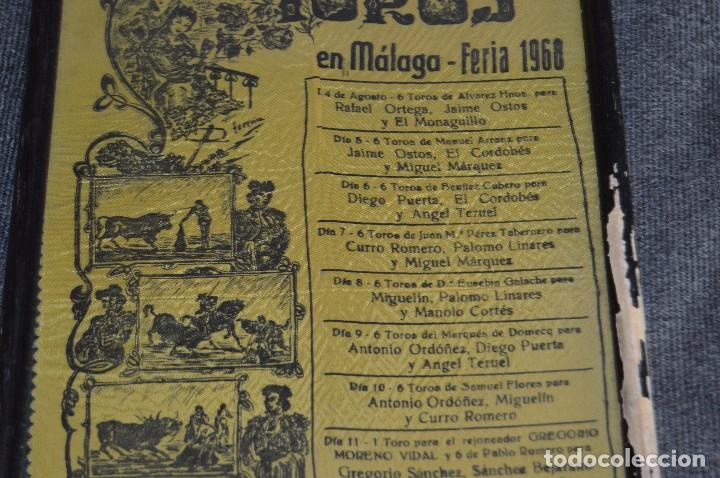 Tauromaquia: VINTAGE Y ANTIGUO - ANTIGUO CARTEL TAURINO ENMARCADO - FERIA DE MÁLAGA DE 1968 - EN SEDA - HAZ OFERT - Foto 3 - 112335655