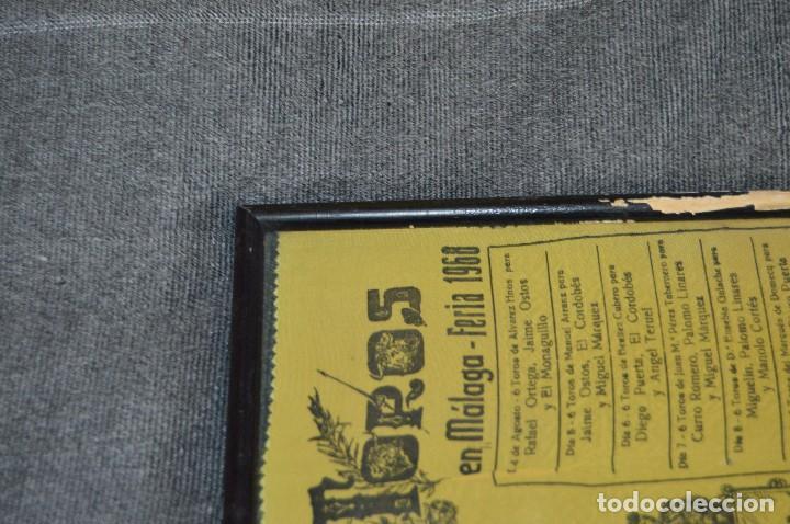 Tauromaquia: VINTAGE Y ANTIGUO - ANTIGUO CARTEL TAURINO ENMARCADO - FERIA DE MÁLAGA DE 1968 - EN SEDA - HAZ OFERT - Foto 9 - 112335655