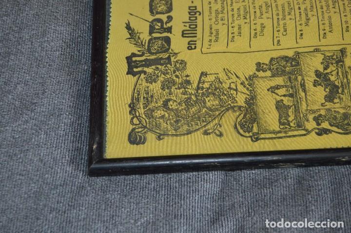 Tauromaquia: VINTAGE Y ANTIGUO - ANTIGUO CARTEL TAURINO ENMARCADO - FERIA DE MÁLAGA DE 1968 - EN SEDA - HAZ OFERT - Foto 10 - 112335655