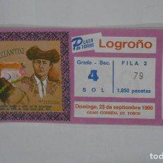 Tauromaquia: ENTRADA PLAZA DE TOROS DE LOGROÑO. 23 DE SEPTIEMBRE DE 1990. CORRIDA DE TOROS MAZZANTINI. TDKP1. Lote 113837403
