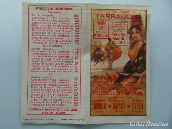 CARTEL PLAZA DE TOROS DE TARRAGONA. CURRILLO, MANILI Y ESPLA (Coleccionismo - Tauromaquia)