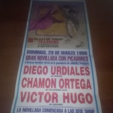Tauromaquia: CARTEL DE TOROS. MADRID. MARZO 1998. NOVILLADA. DIEGO URDIALES. CHAMON ORTEGA. VICTOR HUGO. Lote 115227047