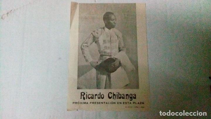 PEQUEÑO CARTEL DE PRESENTACIÓN DEL TORERO RICARDO CHIBANGA DE LOS AÑOS 70 (Coleccionismo - Tauromaquia)