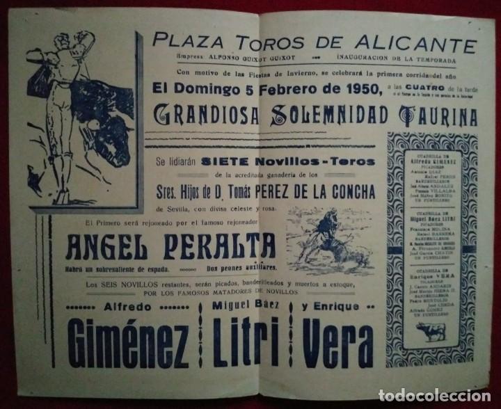 Tauromaquia: 1950 ALICANTE Díptico plaza de toros de ALICANTE 27,2 x 21 Programa de mano - Foto 3 - 115626787