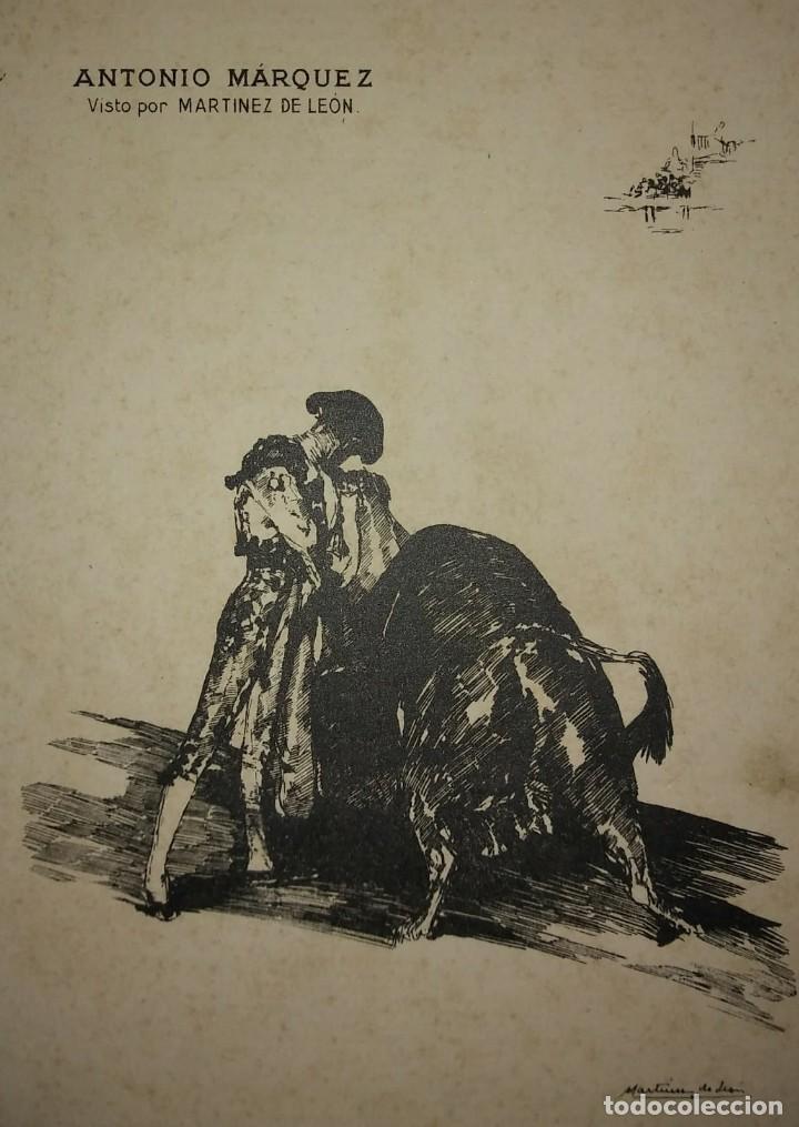 Tauromaquia: 3 litografias Antonio Márquez visto por Martínez de León. Toros. Toreros. Tauromaquia - Foto 4 - 115627215