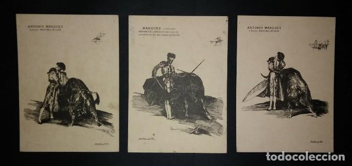 3 LITOGRAFIAS ANTONIO MÁRQUEZ VISTO POR MARTÍNEZ DE LEÓN. TOROS. TOREROS. TAUROMAQUIA (Coleccionismo - Tauromaquia)