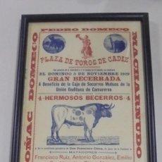 Tauromaquia: PLAZA DE TOROS DE CADIZ. 1929. FRANCISCO RUIZ, ANTONIO GONZALEZ, EMILIO SAN VICENTE, DIEGO MELERO. Lote 116080611