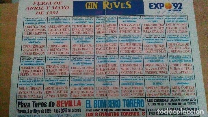 CARTEL DE MANO DE SEVILLA DEL AÑO 1992 ,MIDE ABIERTO 31 X 22 CM (Coleccionismo - Tauromaquia)