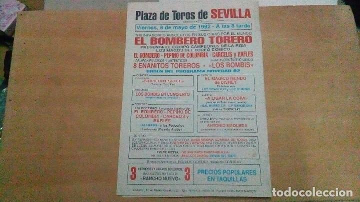 Tauromaquia: Cartel de mano de Sevilla del año 1992 ,mide abierto 31 x 22 cm - Foto 3 - 116219043