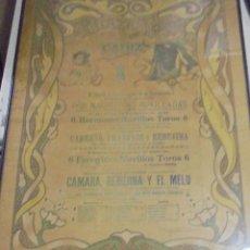 Tauromaquia: PLAZA DE TOROS DE CADIZ. 1929. CARREÑO, FRANKLIN, REBUJINA, CAMARA Y EL MELU. 65 X 48CM.. Lote 116519503
