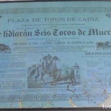 Tauromaquia: PLAZA DE TOROS DE CADIZ. 1870. JOSE PONCE, ANTONIO CARMONA Y EL GORDITO DE SEVILLA. 42 X 62CM.. Lote 116519655