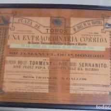 Tauromaquia: PLAZA DE TOROS. JEREZ DE LA FRONTERA. 1896. GANADERIA P.ROMERO. TORMENTA, SERRANITO, PIPA, EL RUBIO. Lote 116520639