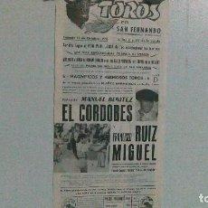 Tauromaquia: CARTEL DE SAN FERNANDO AÑO 70, MANO A MANO EL CORDOBÉS Y RUIZ MIGUEL. Lote 116676159