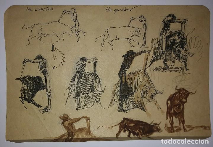 4 ESBOZOS TOROS ORIGINALES RICARDO MARÍN ? SIN FIRMAR EN 3 HOJAS PAPEL MUY FINO DIBUJO TAURINO (Coleccionismo - Tauromaquia)
