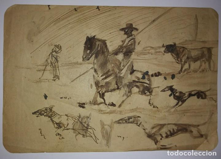 4 esbozos toros Originales Ricardo Marín ? sin firmar en 3 hojas papel muy fino DIBUJO TAURINO - 117458323