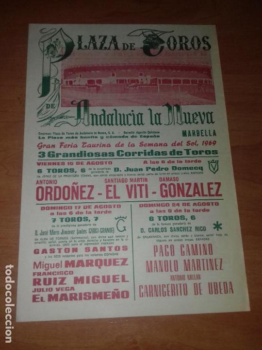 CARTEL. MARBELLA. 1969. A. ORDOÑEZ. S. M. EL VITI. D. GONZALEZ. G. SANTOS. M. MARQUEZ. F. R. MIGUEL. segunda mano