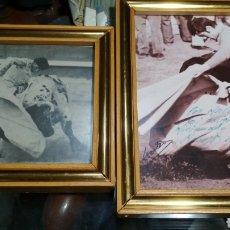 Tauromaquia: PAREJA DE MARCOS CON FOTO FIRMADA Y RECORTE DE UN TORERO. Lote 119377588