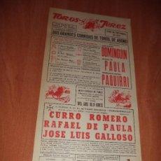 Tauromaquia: CARTEL. JEREZ. 1973. DOMINGUIN. RAFAEL DE PAULA. FRANCISCO RIVERA PAQUIRRI.. Lote 119750891