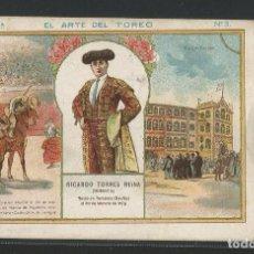 Tauromaquia: BOMBITA - CROMO EL ARTE DEL TOREO - CHOCOLATE LAS BARCAS MUNILLA LOGROÑO - P26114. Lote 120637103