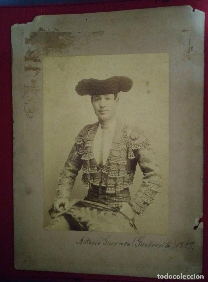 1898 Guerrerito. Fotografía del torero Antonio Guerrero. Albúmina. Toros, Toreros - 114588127