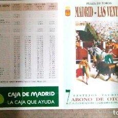 Tauromaquia: CARTEL DE MANO DE LAS VENTAS, ABONO DE OTOÑO DEL AÑO 1995. Lote 122478919