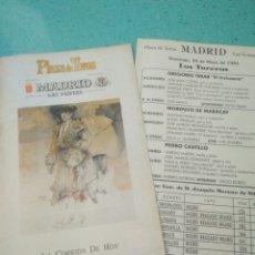 Tauromaquia: PROGRAMA PLAZA TOROS MADRID 26 MAYO 1991 EL INCLUSERO,MORENITO MARACAY,PEDRO CASTILLO. Lote 124509903