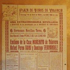 Tauromaquia: CARTEL TOROS VALENCIA DAMNIFICADOS INCENDIO SANTANDER AÑO 1941 MORENITO, BONI,... Lote 125074051