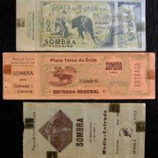 Tauromaquia: 3 ENTRADAS DE TOROS. ÉCIJA. SEVILLA. AÑOS: 1924 - 25 - 29. . Lote 126063427
