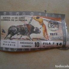 Tauromaquia: ENTRADA DE TOROS, PLAZA DE TOROS MADRID, 14 JUNIO, 1973. Lote 127217035