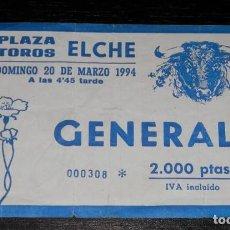 Tauromaquia: ENTRADA CORRIDA DE TOROS - PLAZA DE TOROS ELCHE 1994. Lote 128167279