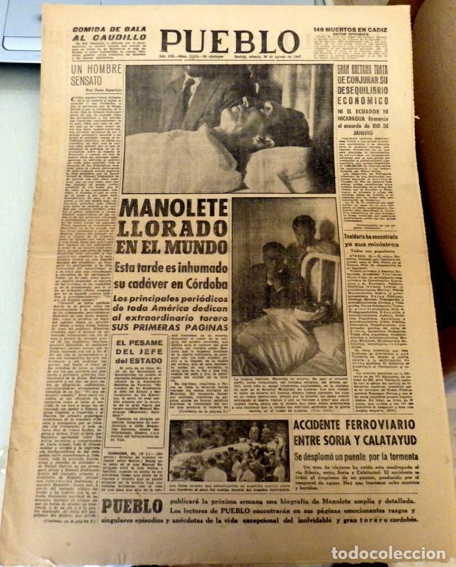 PUEBLO Nº 2319 DIARIO COGIDA Y MUERTE DE MANOLETE 30 AGOSTO 1947 TORO MIURA ISLERO (Coleccionismo - Tauromaquia)