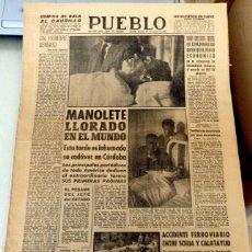 Tauromaquia: PUEBLO Nº 2319 DIARIO COGIDA Y MUERTE DE MANOLETE 30 AGOSTO 1947 TORO MIURA ISLERO. Lote 128815007