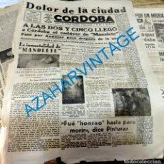 Tauromaquia: PORTADA DEL DIARIO CORDOBA, FALANGE, 29 DE AGOSTO DE 1947,MUERTE DE MANOLETE, REVERSO ESQUELA, MUY . Lote 129096887