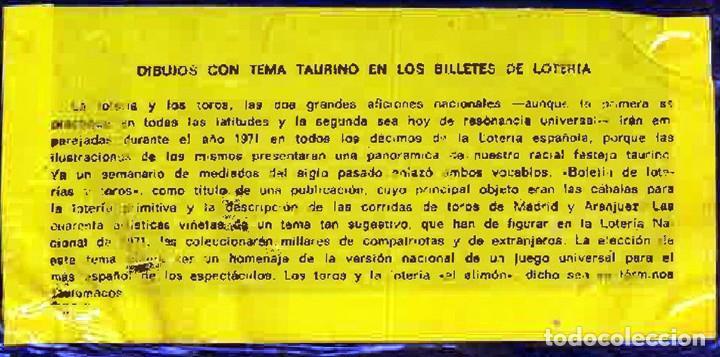 Tauromaquia: 1971.- COLECCION CTA. CON LOS 40 DECIMOS TEMA LA TAUROMAQUIA. CON DESCRIPCIONES DE LOS TEMAS. - Foto 2 - 130991972