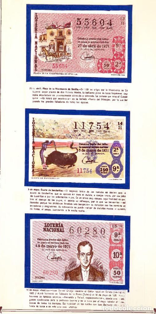 Tauromaquia: 1971.- COLECCION CTA. CON LOS 40 DECIMOS TEMA LA TAUROMAQUIA. CON DESCRIPCIONES DE LOS TEMAS. - Foto 7 - 130991972