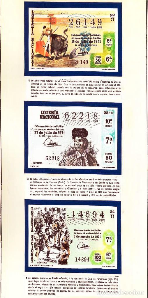 Tauromaquia: 1971.- COLECCION CTA. CON LOS 40 DECIMOS TEMA LA TAUROMAQUIA. CON DESCRIPCIONES DE LOS TEMAS. - Foto 10 - 130991972