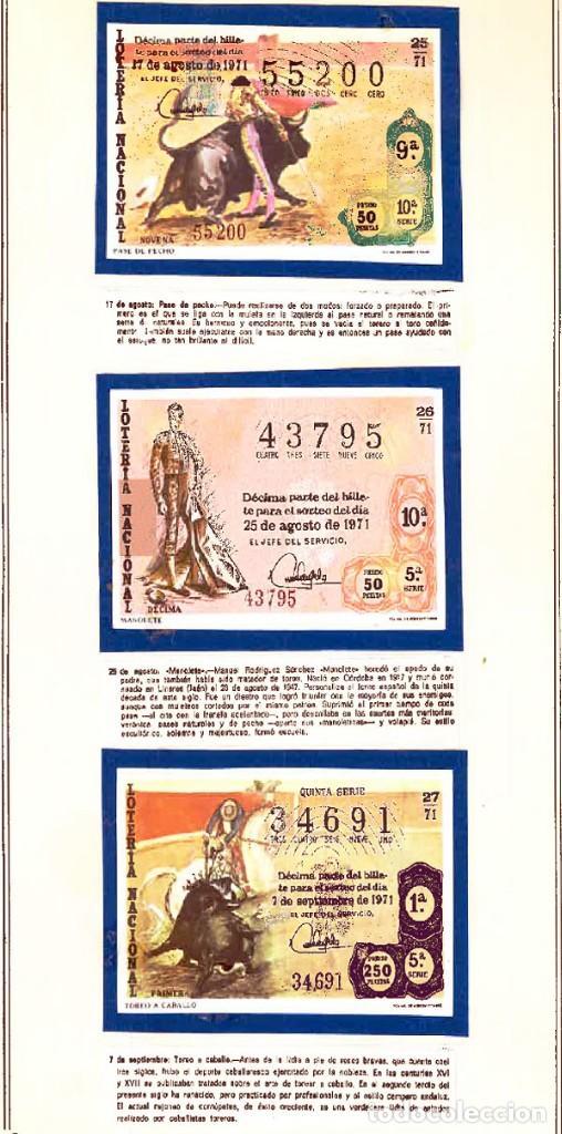 Tauromaquia: 1971.- COLECCION CTA. CON LOS 40 DECIMOS TEMA LA TAUROMAQUIA. CON DESCRIPCIONES DE LOS TEMAS. - Foto 11 - 130991972