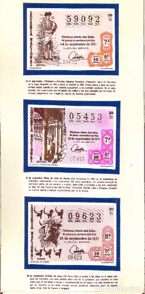 Tauromaquia: 1971.- COLECCION CTA. CON LOS 40 DECIMOS TEMA LA TAUROMAQUIA. CON DESCRIPCIONES DE LOS TEMAS. - Foto 12 - 130991972