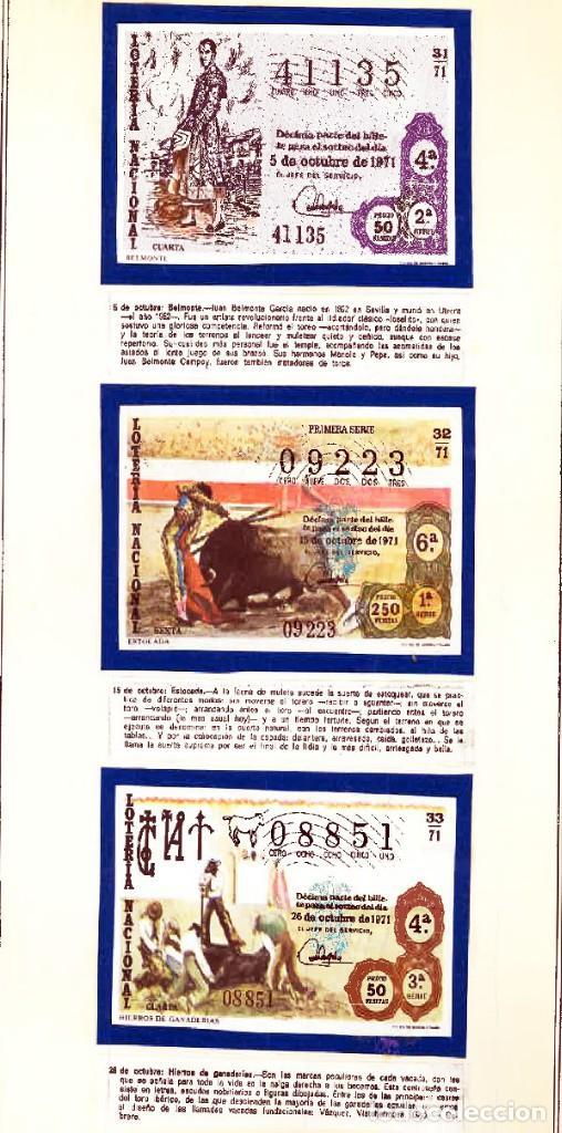 Tauromaquia: 1971.- COLECCION CTA. CON LOS 40 DECIMOS TEMA LA TAUROMAQUIA. CON DESCRIPCIONES DE LOS TEMAS. - Foto 13 - 130991972